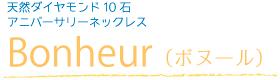 天然ダイヤモンド10石アニバーサリーネックレス Bonheur(ボヌール)