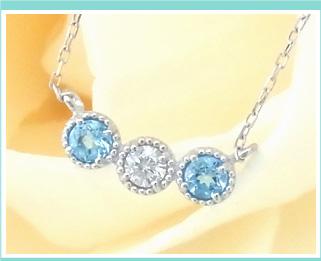 誕生石&天然ダイヤモンド付 スリーストーンネックレス イメージ画像