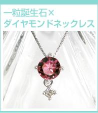 一粒誕生石×ダイヤモンドネックレス